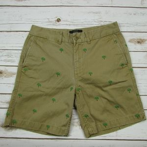 J Crew Chino Shorts Embroidered Palm Trees Size 2